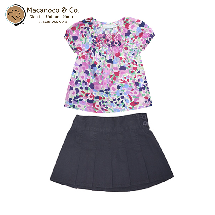 D2273 B8319 Blossom Smocked Pink Top and Pleated Twill Skirt Navy 1