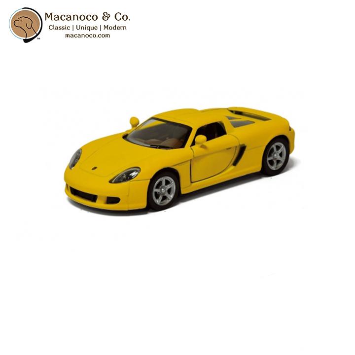 Maisto Yellow Smart Fortwo Open Door Diecast Metal Car: Porsche Carrera GT 1:36 Scale Die Cast Toy Car Model