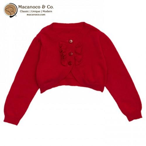 B8554 Ruffle Bolero Cotton Cardigan Red w LOGO