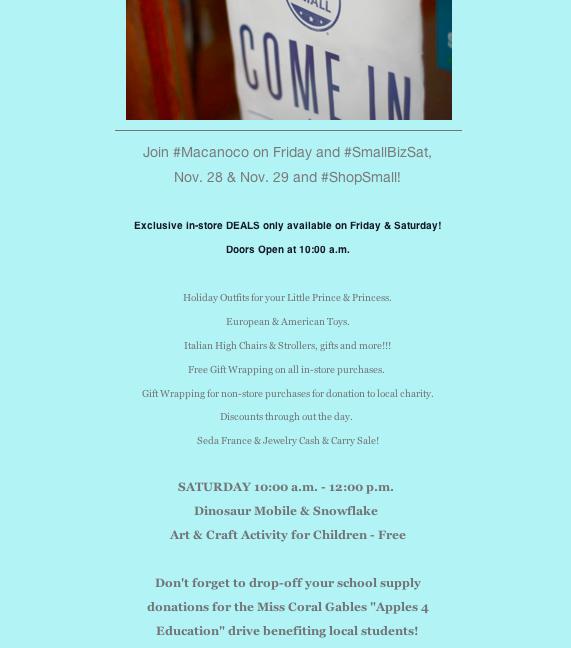 Friday & Small Biz Deals - Macanoco & Co.