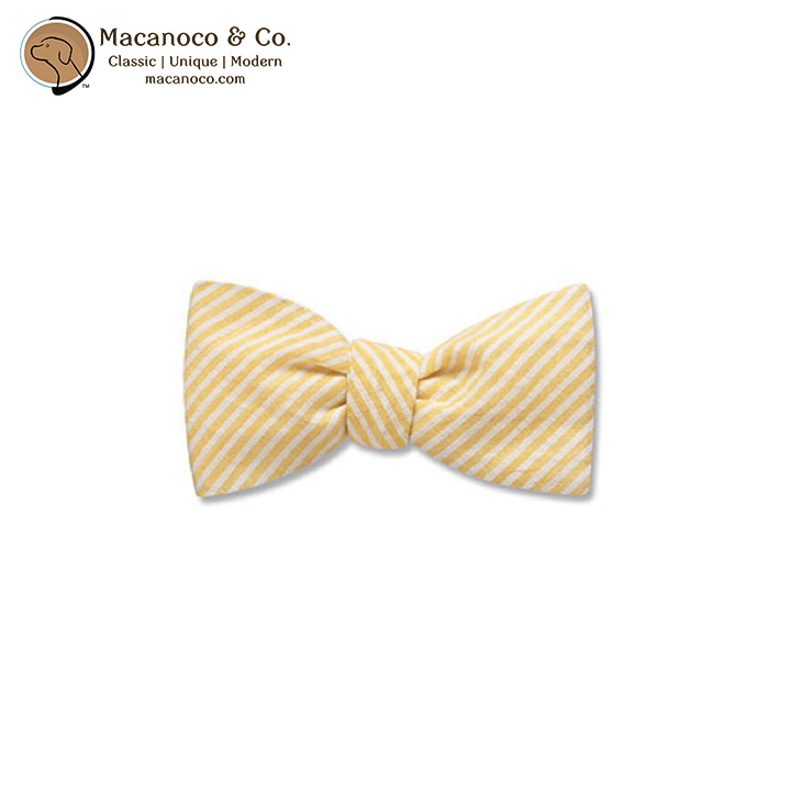 5a3f06ea6ced Kids Cotton Seersucker Pre-Tied Bow Tie Yellow - Macanoco and Co.
