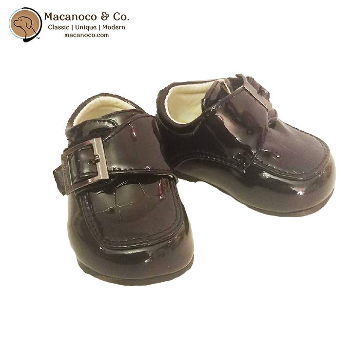 1011114 Dress Shoe with Velcro Buckle Black Crocodile Detail 1