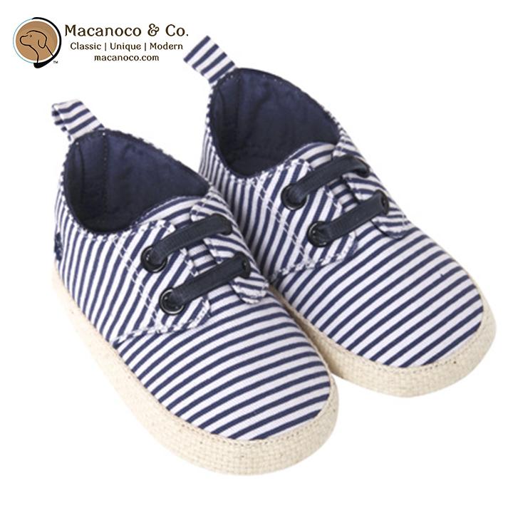 D2207 NWS Classic Baby Espadrilles Navy Stripes w LOGO