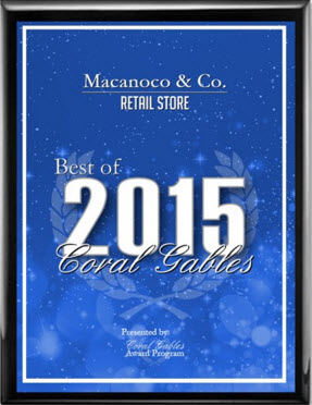 Macanoco and Co. Receives 2015 Best of Coral Gables Award, Macanoco & Co. Receives 2015 Best of Coral Gables Award