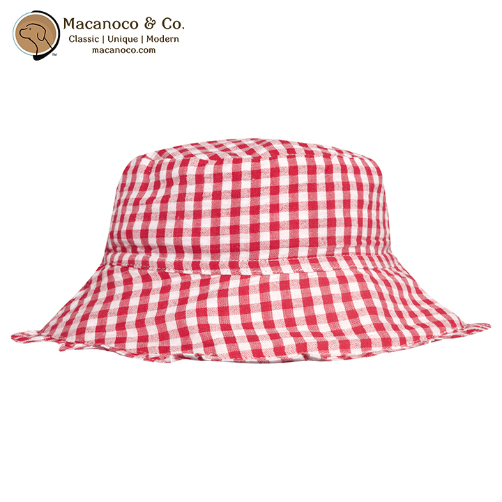 Kids Gingham Sun Hat Strawberry - Macanoco and Co. 751612356813