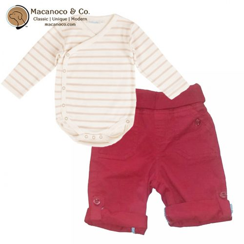 B5974COS - B8510 Organic Cotton Bodysuit Cream Oatmeal and Twill Pull Up Pants Red