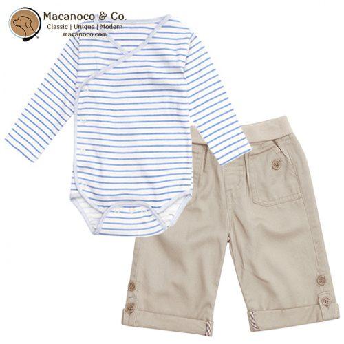 B8890CBS - B8510 Organic Cotton Bodysuit Cream and Twill Pull Up Pants Stone