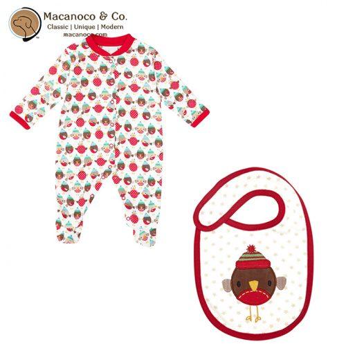 b8949-B1451 Funky Robin Sleepsuit Footie Pajama and Bib Holiday Set
