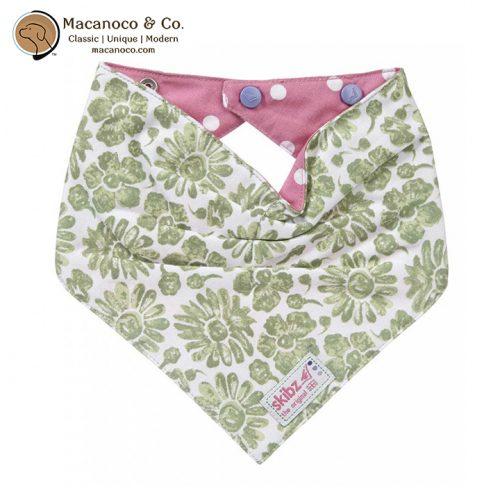 SKI0101 Green Floral and Polka Dot Pink Reversible Dribble Bib 1