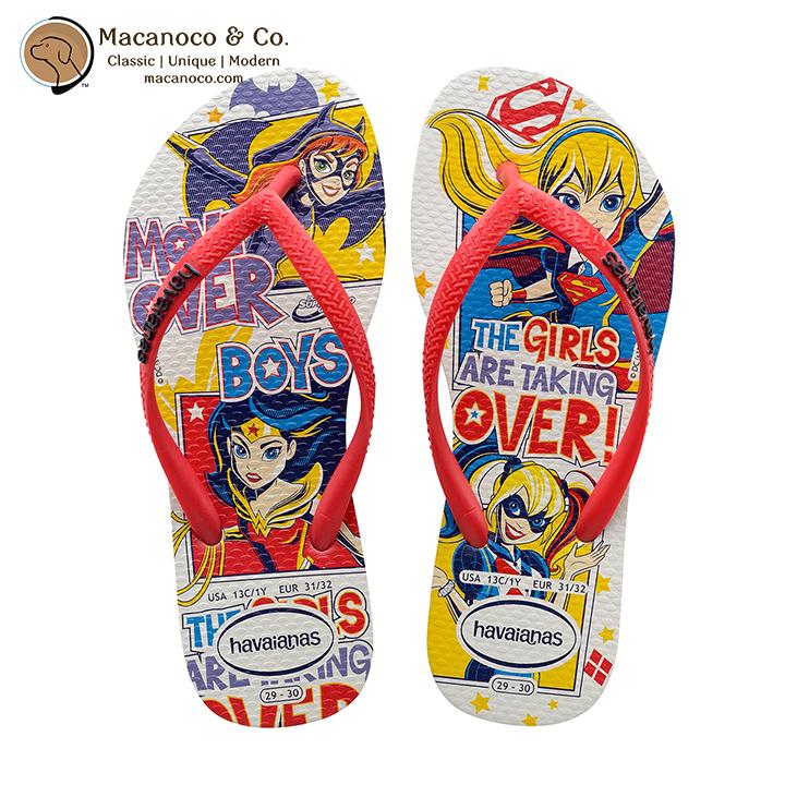 0363adadd66b7 Kids DC Super Heroes Girls Sandal Flip Flop White - Macanoco and Co.