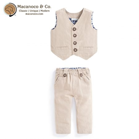B5009 B5010 Linen Waiscoat and Trousers Natural