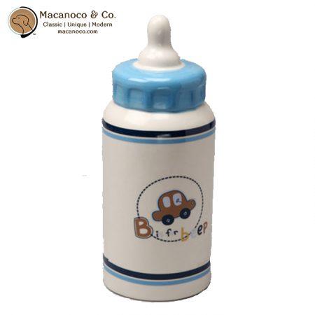 00497 Blue Baby Bottle Ceramic Coin Bank 1