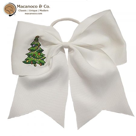 3851 Christmas Tree Embroidered Grosgrain Ponytail White 1