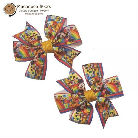 3858 Mickey Pinwheel Hair Clip Bow Mustard 1