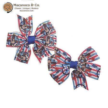 3859 Mickey Sail Suit Pinwheel Hair Clip Bow White Stripe 1