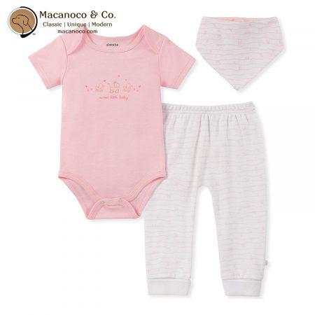 90g00037 Sweet Little Baby Bodysuit, Pant and Bib Set Pink 1