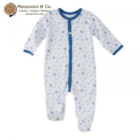 90E90107-99 Milk Bunny Print Footie Blue 1