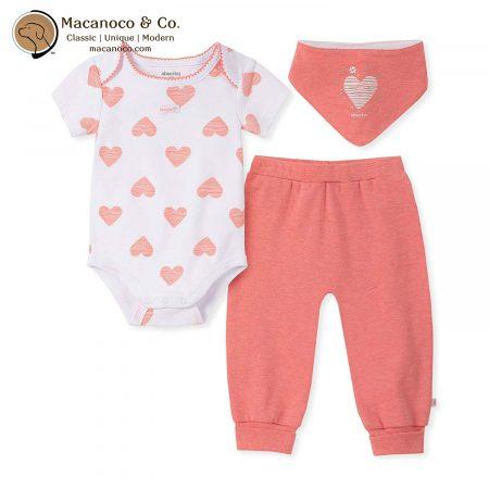 90G00040-99 Hearts 2 Pieces Bodysuit Pants Set Salmon 1